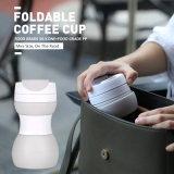 주문 로고 Eco-Friendly 누설방지 실리콘 접을 수 있는 여행 커피잔 500ml
