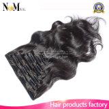 사람의 모발 연장 머리 연장 자연적인 인간적인 Virgin 머리 7A 급료에 있는 인도 바디 파 클립에 있는 클립은 출하를 해방한다