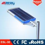 Boa luz de rua solar Integrated do diodo emissor de luz da qualidade 30W para a lâmpada ao ar livre da luz da estrada com FCC do Ce