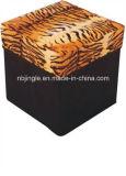 Belüftung-Leder mit Tigerprinting faltbarem Speicher-Schemel