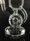 Het dubbele Vat met Gealigneerde Recycleermachine Showerhead boog de Waterpijp van het Glas van de Hals