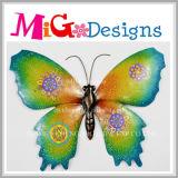 Cor brilhante de metal de borboletas e Decoração de parede de vidro
