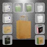 ドイツのための平らなハンドルが付いている習慣によって印刷されるクラフト紙袋