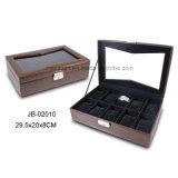 Caixa de Madeira de Couro Elegante de Caixa de Relógio da Caixa de Relógio do Plutônio do MDF com Indicador E Fechamento