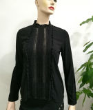 女性の方法衣類2017の黒い偶然のブラウスは綿の長い袖デザイナーブラウスの切断およびステッチを設計する