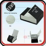 Rectángulo de regalo de sellado caliente de la PU de la insignia de la plata superior del grado
