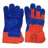 С другой стороны безопасности из кожи синего цвета защитных рабочие перчатки с маркировкой CE EN388