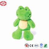 Les yeux ont brodé le jouet bourré intéressant de grenouille de cadeau de vert doux de peluche