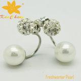 Fper-005 Pendientes de clip de perlas de agua dulce de color blanco