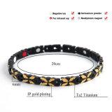 Monili di titanio dorati 10123 di energia di salute del braccialetto del nero di buona qualità