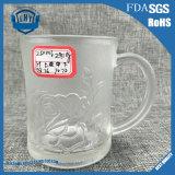 Nuevo diseño de máquina de corte presionado vidrio transparente manija Rose vaso Copa (GB094409MG)