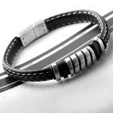 De gepersonaliseerde Armband van het Leer van de Mensen van de Juwelen van het Roestvrij staal van de Manier Gestreepte