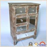 gabinete Handmade do acento do armazenamento do espelho 5-Drawers de madeira antigo na cor da madeira da tração