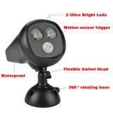 Sensor de movimiento impermeable PIR sensor de luz solar accionado de movimiento ligero 2 Solar LED Noche pared de la luz del proyector LED para Graden Camino