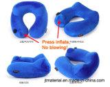 Pulse inflar el cuello la almohada en forma de U Avión inflable Pulsador cuello almohada