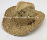 El sombrero natural de papel del sombrero de paja con el encadenamiento de Colouized asoció (Sh017)