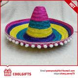 Chapéu de palha com chapéu de listrado com chapéu quente para presente promocional