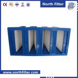 使い捨て可能なガラス繊維のプラスチックフレームが付いている中型の効率Vバンクフィルター