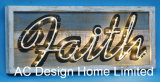 Ancient Vintage Rectangular Faith Design Wall Decoration Wooden Shadow Box W/LED Light