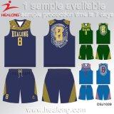 Healongの昇華プリントヨーロッパのサイズの方法デザインバスケットボールのユニフォーム