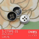 Il ABS 4-Holes Silver Black Enamel Button