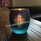 De elegante Europese Blauwe Gegalvaniseerde Kop van de Kaars van de Houder van de Kaars van het Glas met Patroon Jusus voor het Decor van het Huis