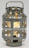 Décoration lanterne en métal galvanisé rond W/ampoule LED