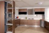Alta mobilia dell'armadio da cucina di rivestimento della lacca di lucentezza del Brown