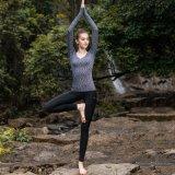 Lange Hülsen-Yoga-Hemd-Frauen-Yoga-Hosen-Streifen-Yoga-Abnützung