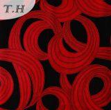 黒くおよび赤い群がるファブリック