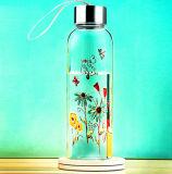 아름다운 꽃 디자인 밧줄 선물 컵 스포츠 유리병을%s 가진 유리제 물병