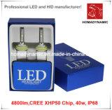 Il faro superiore del LED con il chip 4800lm 9006 6000k di Xhp 50 del CREE