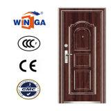 Exterior usar el color de madera del metal de la seguridad de la puerta de acero del hierro (W-S-144)