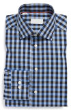 2016 Nuevo y moderno Plaid camisas puños Adjustable-Button Camisa de vestir