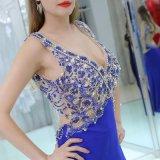 Глубокий V-шее рельефная Джерси вечерние платья мода долго V-образный вырез горловины вечерние платья
