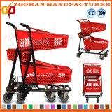 Chariot en plastique coloré à achats d'épicerie en métal de fil de grande capacité (Zht216)