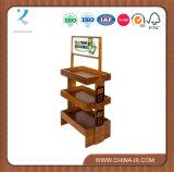 Estante de visualización de madera modificado para requisitos particulares de 3 gradas con las ruedas