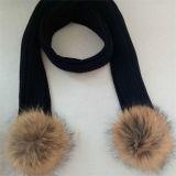 Tejido de lana de cristal de la mujer Beanie Fur Pom Pom Hat