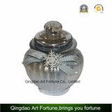 Jarra de cristal claro estriada el recipiente con tapa de cristal para la decoración del hogar