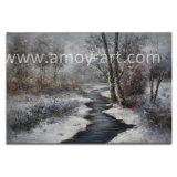 Pitture a olio Handmade di paesaggio della foresta di inverno per la decorazione domestica