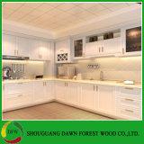 Gabinetes de cozinha lustrosos elevados da porta de gabinete da cozinha da cor contínua da laca