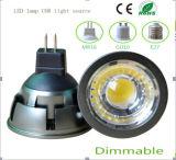 Le marquage CE et Rhos GU10 3W à intensité réglable COB Ampoule de LED