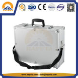 Bewegliches Aluminiumfall-Silber/schwarzer Werkzeugkasten mit Schulter-Gürtel und Schaumgummi (HT-1115)
