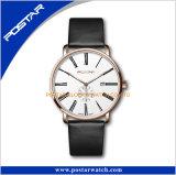 Reloj elegante ocasional de la aptitud del cuero genuino del reloj de Swatchful Genvea