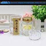 Квадратный стеклянный опарник меда с опарником крышки желтого металла стеклянным для еды, меда, хранения