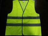 Veste da segurança com do poliéster Pocket da cor verde da gripe da identificação tela 100% de confeção de malhas