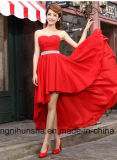 Robes de soirée courtes Chiffon de pli sans manche en cristal de ceintures