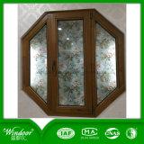 Doble abierto dentro de la madera de roble blanco de la ventana de madera aluminio