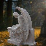 La statua bianca del granito di grande qualità di bello monumento di angelo, inoltre può essere fatta della scultura di marmo di angelo