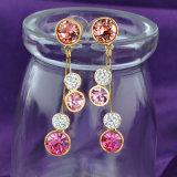 분홍색 모조 다이아몬드 수정같은 별 형식 작풍 귀걸이 보석